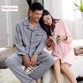 Amantes Pijamas de Algodón de Manga Larga Sólido ocasional Otoño Para Hombre y Para Mujer Gira el Collar Abajo la Ropa De Dormir A Juego Parejas Camisón