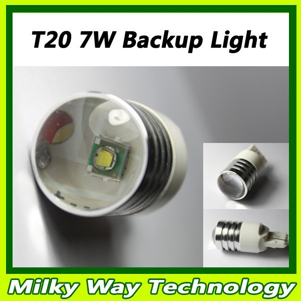 Ultra Bright T20 7440 7443 W21W 7W CREE Q5 LED Backup Reverse Light Bulb White Light 12V 2pcs/lot Free shipping # LX06027