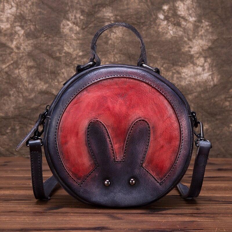 Peau naturelle épaule Messenger circulaire sacs motif de lapin petites filles mignon fourre-tout sac à main en cuir véritable femmes Top poignée sac