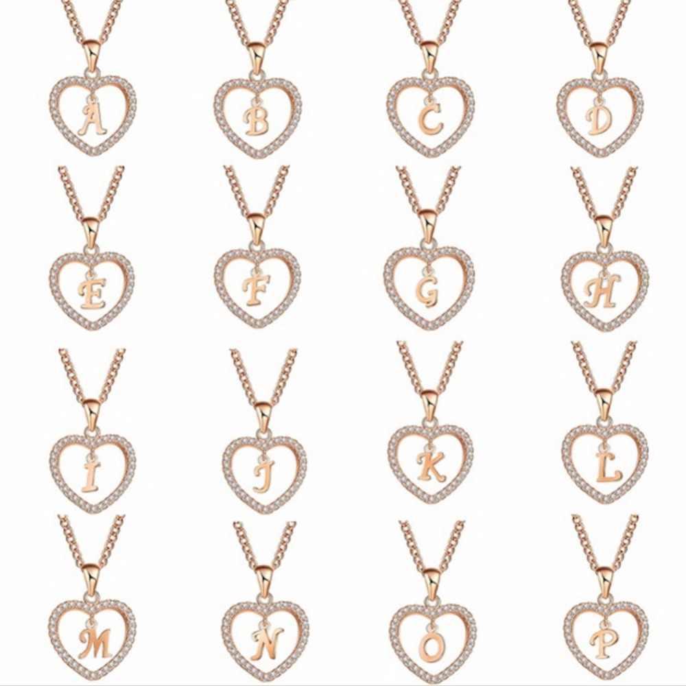 A a z nome da letra colares & pingente para mulher menina moda longa corrente coração colares cúbicos zircônia diy jóias presente #271586