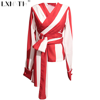 New Red Casual Stripe Blouse Shirt Long Sashes Women Blouses V Neck Blouses For Ladies Slim