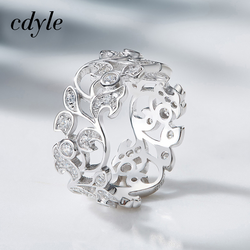 Cdyle Silver 925 Sterling Ring for Women Hollow Rhinestone Engagement Simple Bohemian Jewelry Vintage Boho Luxury Ladies Female vintage rhinestone hollowed wave ring for women
