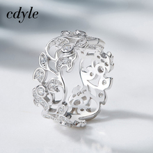 Cdyle Silver 925 Sterling Ring for Women Hollow Rhinestone Engagement Simple Bohemian Jewelry Vintage Boho Luxury Ladies Female