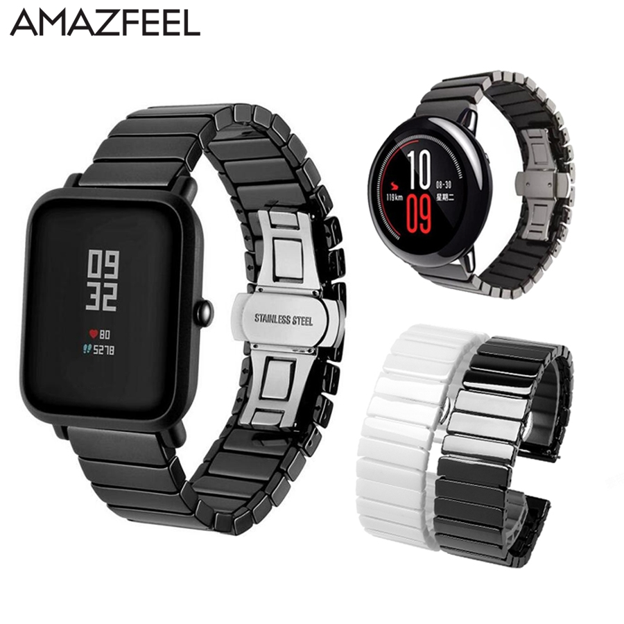 Ceramic Watch Band For Huami Amazfit Bip Strap For Amazfit Pace Stratos Bracelet GTR GTS For Huawei Watch Gt Honor Magic Strap