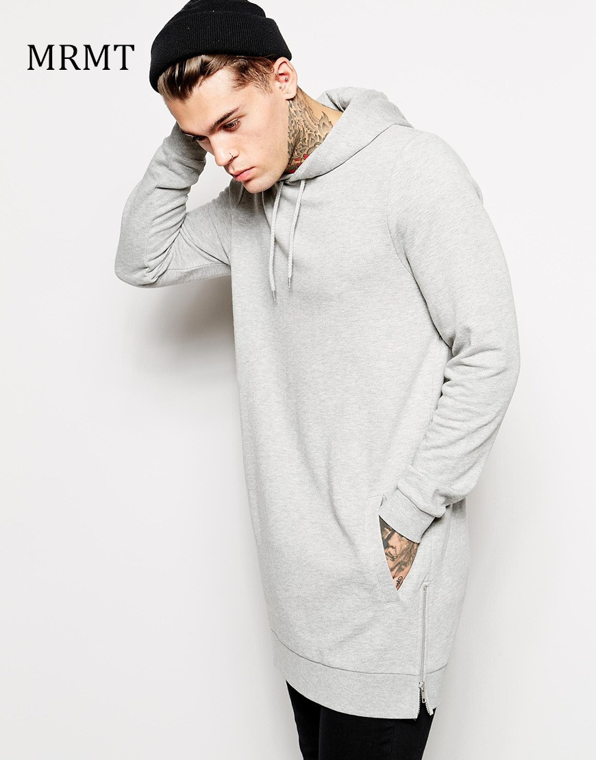 New Arrival Fashion Men's Long Grey Hoodies Sweatshirts Feece With Side Zipper Longline Hip Hop Streetwear Shirt Tops Longline