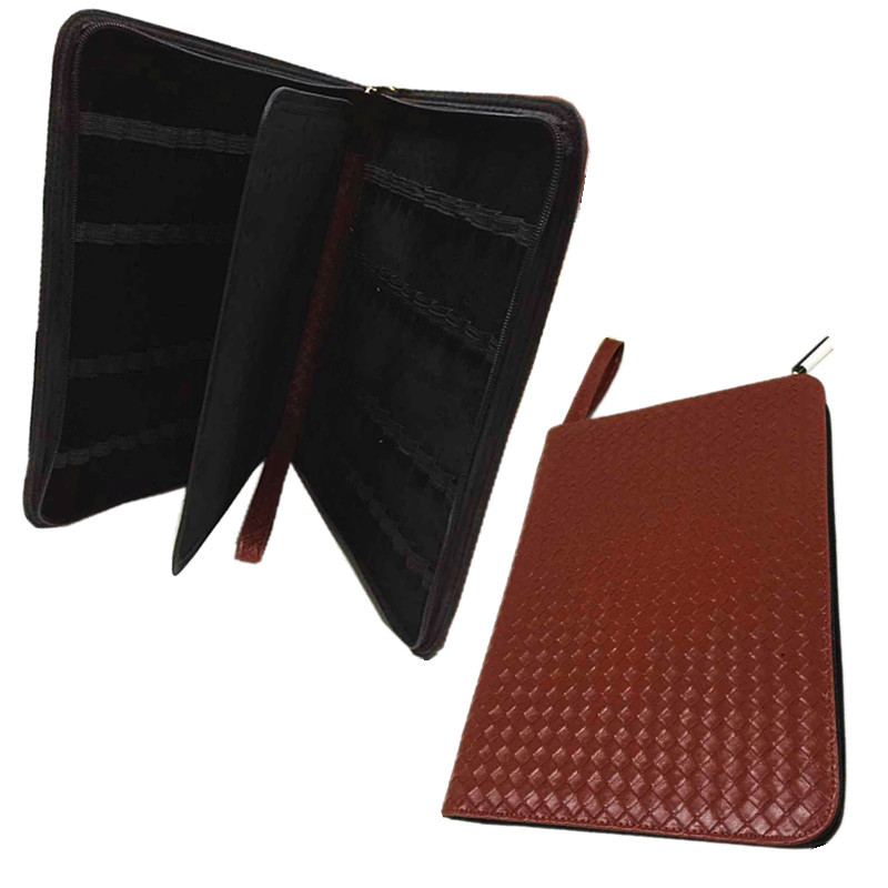 цены  48 Pens Case Luxury The new Coffee weaving Leather Pencil Case/Bag For Roller Ball Pen / Fountain Pen /Ballpoint Pen