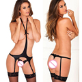 Sexy Lace Lingerie Bra Garter Belt Sets Black Stocking Suspender Strap for Women with G-strings and Open Bra Sexy Costume