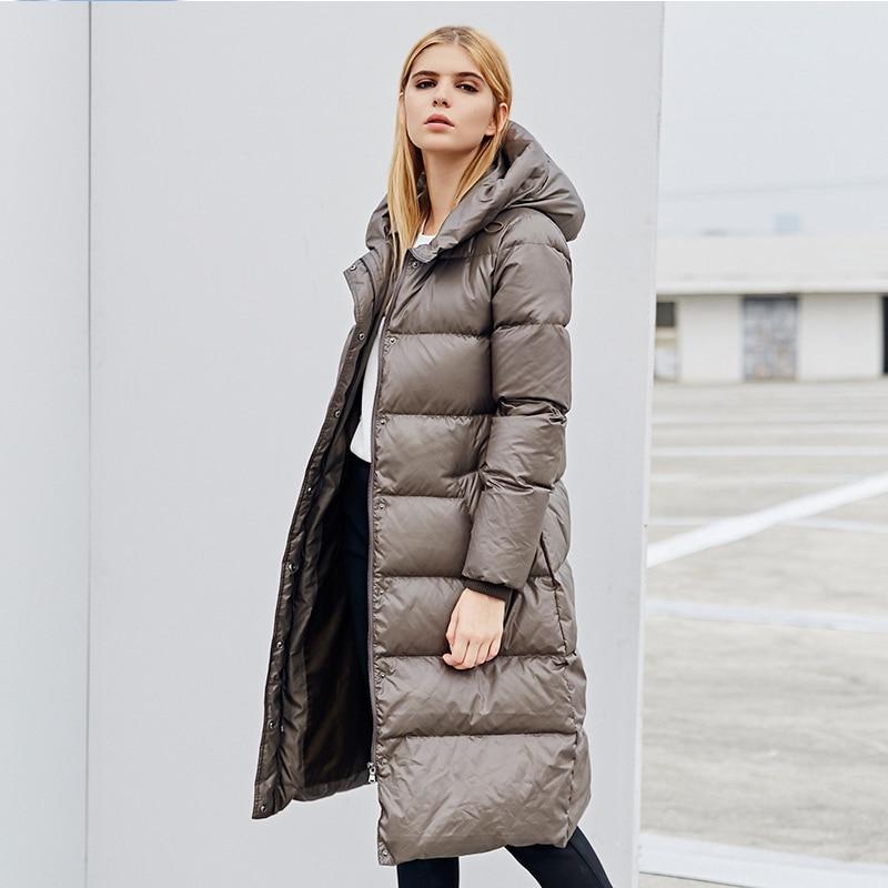 2017 Winter Women White Goose Parka Black Olive Brown Long Parka Jack Ladies Coat With Hood Fashion Slim Thick Femme Parka куртка городская nixon meyer parka 2016 olive xl