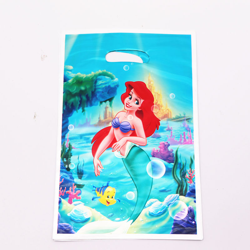 10Pcs/lot Little Mermaid Theme Party Supplies Candy Gift Bags Favor Christmas Birthday Party Decorations Kids For Home