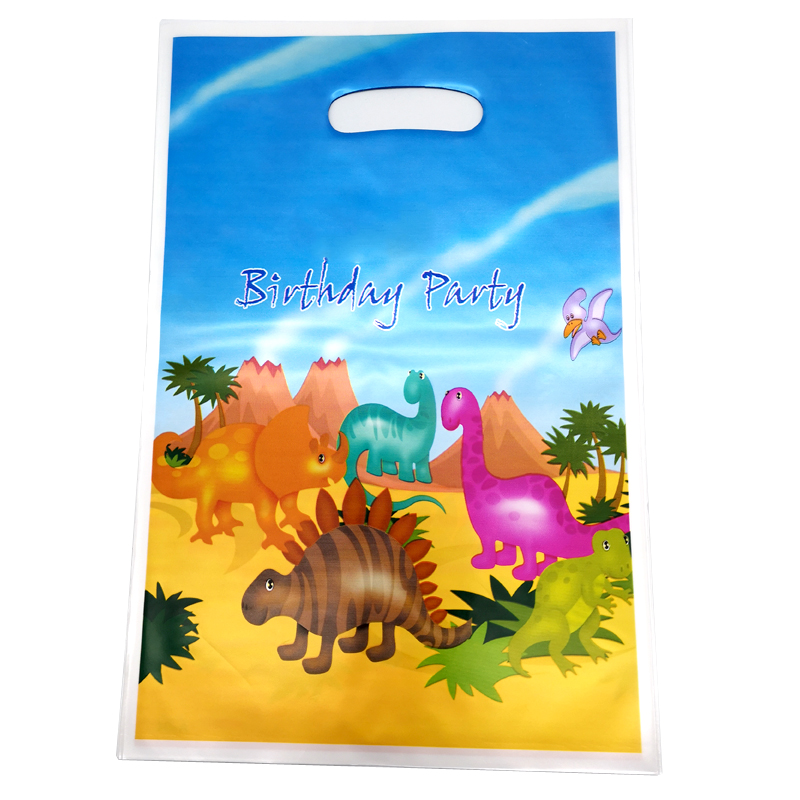 Kids Boys Favors Cute Dinosaur Theme Baby Shower Party Plastic Loot Bags Happy Birthday Events Decorations Gifts Bags 20pcs/lot
