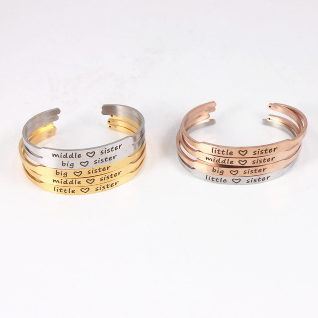 3pcs Set Sister Middle Mister Little Mantra Bracelets Inspirational Bangles Family Friends Jewelry