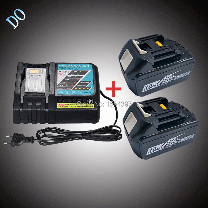 2PCS Rechargeable Lithium Ion 18V BL1830 3000mAh with Power Tool Battery Charger Replacement for Makita 18V BL1840 BL1815 LXT набор bosch ножовка gsa 18v 32 0 601 6a8 102 адаптер gaa 18v 24