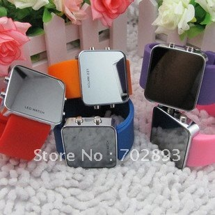 free shipping wholesale Led Watch,silicone watch,fashion mirror,long time batteries,high quality