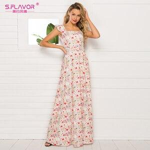 Image 2 - Sabor francês estilo floral impresso vestido feminino 2020 venda quente sem mangas magro verão longo vestidos maxi casuais