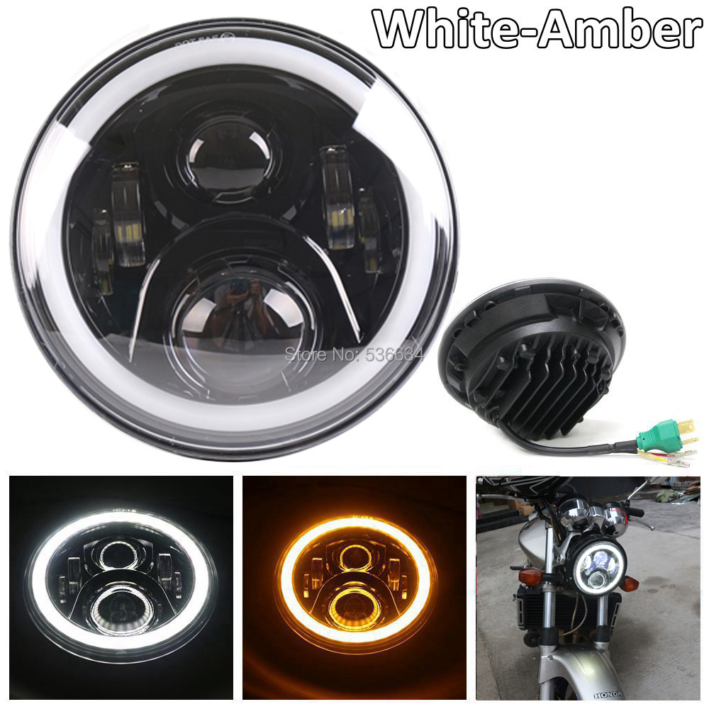 7 inch Round Projector Daymaker LED Headlight with DRL Halo color with White&Amber for Harley Davidson Softail Slim