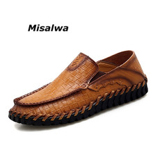 Misalwa Men Shoes Brand Design Handmade Loafers Slip-On Business Comfortable Casual Driving Moccasins Big Size 38-47 Boat