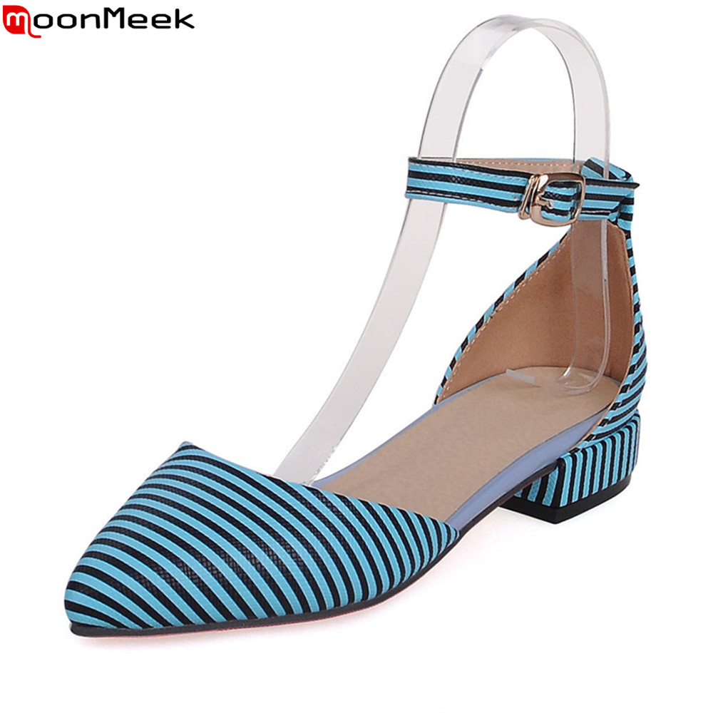 MoonMeek new arrival stripe female pumps with buckle low square heel pointed toe casual dress mature simple ladies shoes