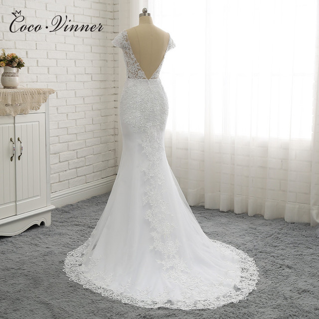 Illusion White Backless Lace Mermaid Wedding Dresses Cap Sleeve Wedding Dress Vintage wedding Dress W0200