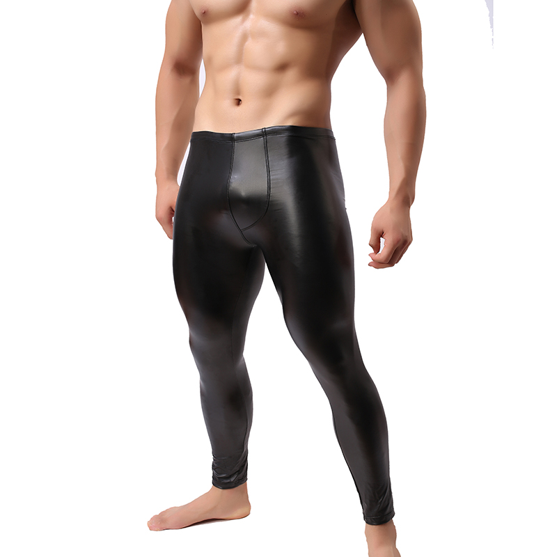 Trousers Pants Leggings Men's Sexy Stretch Exotic Bodybuilding PVC V48 Tights Paux