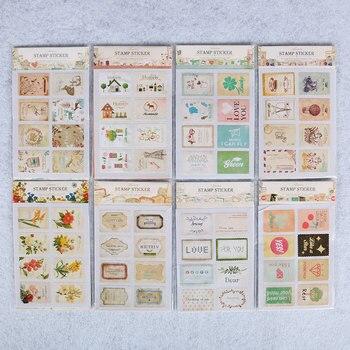 16 шт./1 сумки милые животные флаг Post Stamp стикеры s мини Стикер для заметок подставки для семейного альбома штамп канцелярские