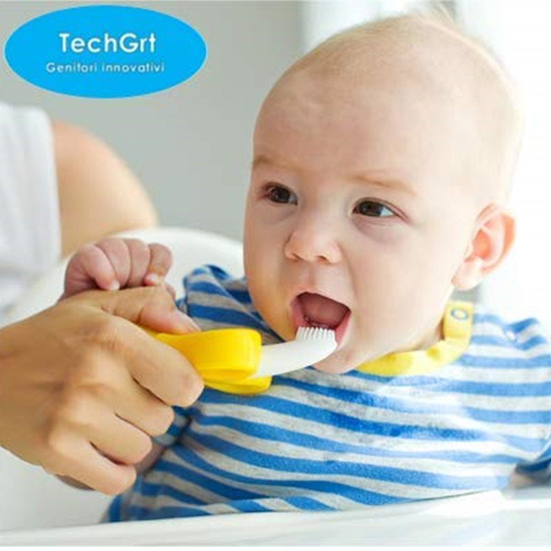 Baby Silicone Training Toothbrush BPA Free Banana Shape Safe Teether Chew Toys Teething Ring Gift Infant Baby Chewing in Baby Teethers from Mother Kids