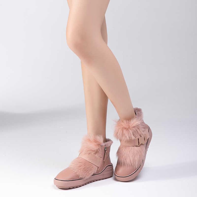 BASSIRIANA-2018 Yeni Kış Kadın Kar Botları Ayakkabı Peluş bayan Trend pamuk-yastıklı Ayakkabı Beyaz Pembe Siyah renkli