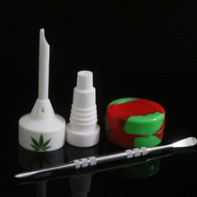 Glass Bongs Tool Set with Ceramic Carb Cap 14/18mm Male Nail Dabber Slicone Jar Dab Container