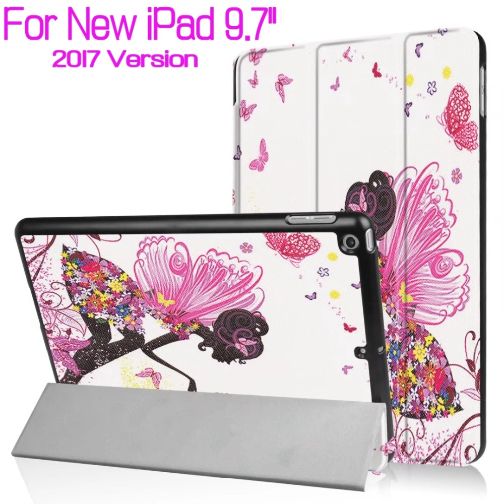 Colorful Printed Magnetic Stand Smart PU Leather Cover for 2017 New iPad 9.7 Tablet Funda Case With Auto Sleep/Wake+Film+Pen luxury slim with magnetic flip pu leather stand case for apple new ipad 9 7 2017 release tablet protective smart painting cover