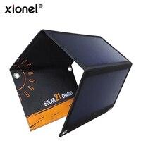 Xionel 21 واط المحمولة الشمسية شاحن مع ثنائي usb ميناء الشمسية لوحة ل فون 6 ثانية 6 زائد ، الروبوت ، سامسونج ، htc ، lg ، نيكزس ، وأكثر