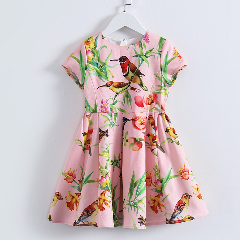 Summer children clothes Aline short sleeve big hem bird print flower dress teenager 3-14T kids girl evening party formal dresses mixed print dip hem top
