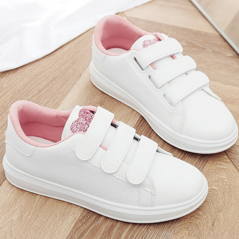 White Shoes Women Sneakers Heart Bling Sneakers for Girls Running Hook Loop Trainers Women's Vulcanize Shoes Casual