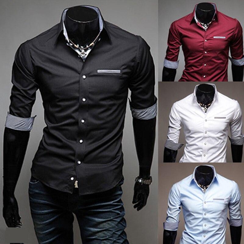 Lacontrie European Size Men's Shirt 2017 New Fashion 100% Cotton Men's social Slim Business Casual Clothing HALF Sleeve 4 color