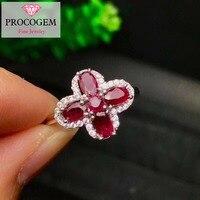 С натуральным красным Рубином кольца милый цветок кольца 3x5 мм 100% натуральная камни для женщин роскошный ювелирные украшения 925 пробы сереб