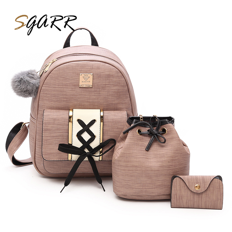 SGARR Women Backpacks Fashion PU Leather Female School Bags For Teenage Girls High Quality 3 Pieces Set Preppy Style Backpack 2016 fashion women waterproof pu leather rivet backpack women s backpacks for teenage girls ladies bags with zippers black bags