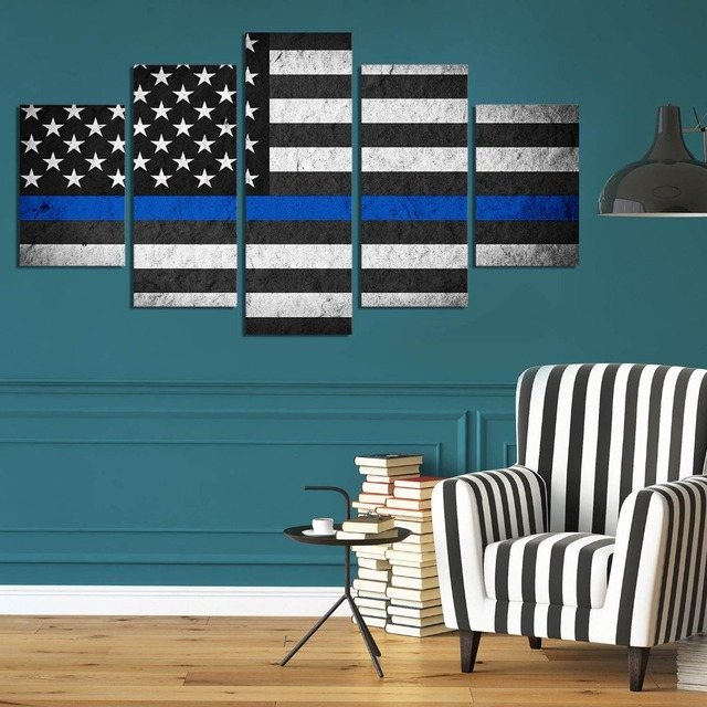 5 Pieces Canvas Painting Blue Thin Line USA Flag picture print poster framed wall art
