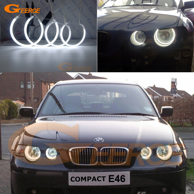 For BMW E46 3 Series Compact 2001-2005 Excellent angel eyes Ultra bright headlight illumination CCFL Angel Eyes kit Halo Ring bmw e83 x3 e46 compact 2w 25000k ccfl purple light car angel eyes kit dc 12v 131mm 106mm diameter