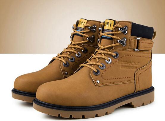 2016 Outono Inverno Da Marca Homens Sapatos Martin Botas de Couro genuíno Quente Botas de Neve Ao Ar Livre Botas De Madeira de Trabalho Casuais Botas Hombre