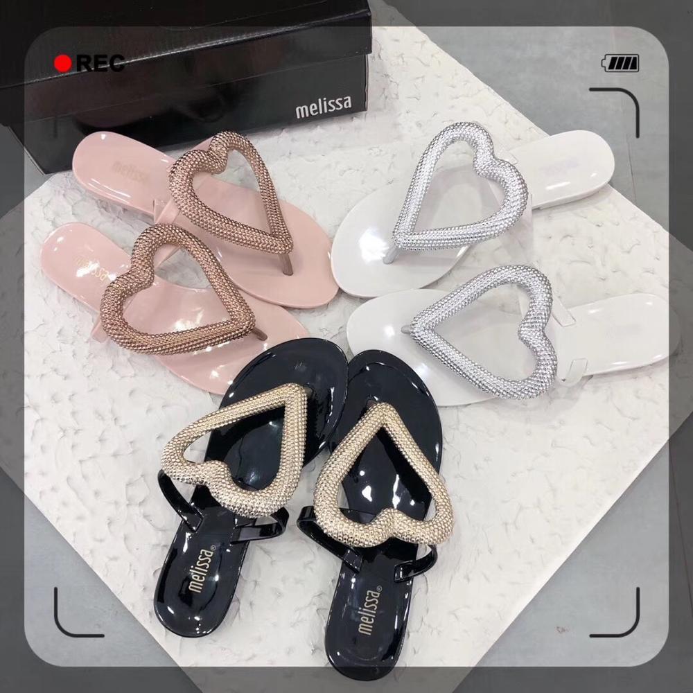 Mini Melissa Lip-Flops Big Herz 2020 Frauen Flache Sandalen Marke Melissa Schuhe Für Frauen Gelee Sandalen Weibliche Gelee Schuhe