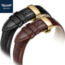 JEAYOU Men Genuine Leather High Quality Watch Strap For Tissot Longines IWC Gold Deployment Button 20mm