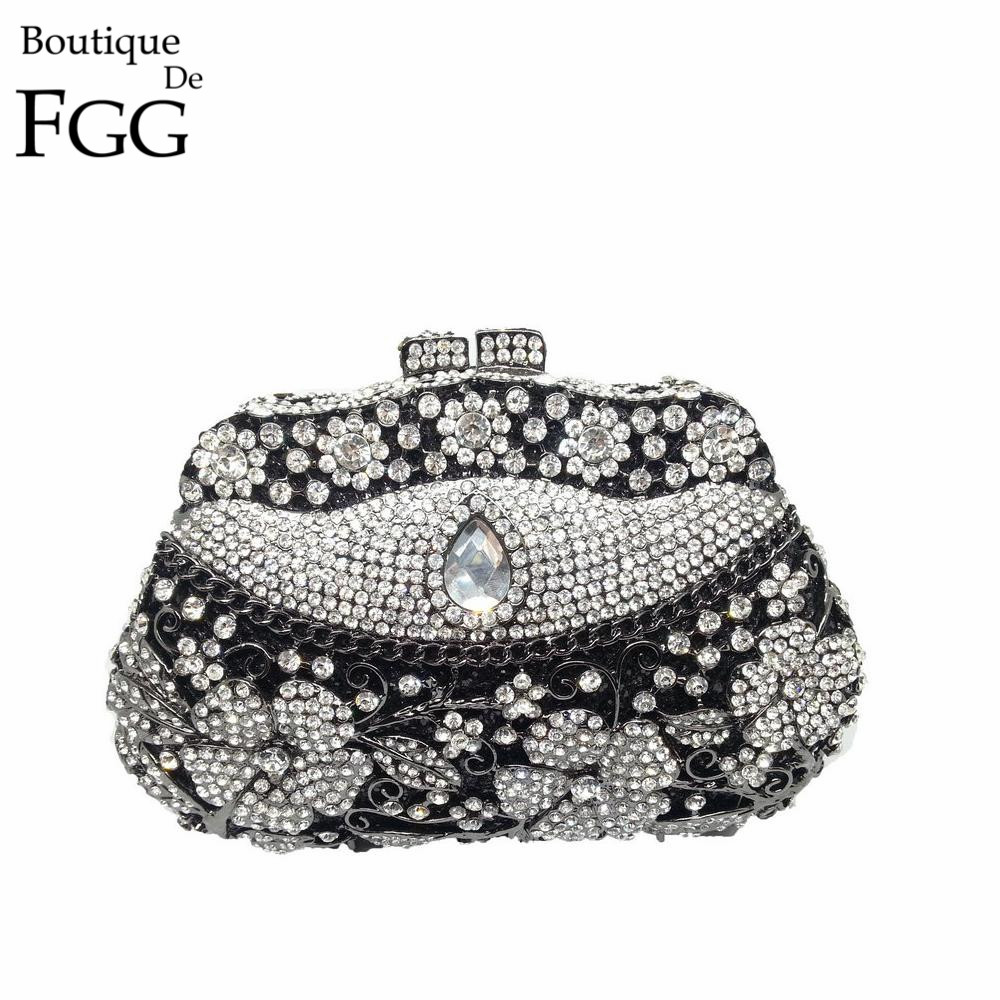 Wedding Bridal Black & White Crystal Rhinestones Handbags Women Clutch Bag Flowers Rose Evening Clutches Bags Bolsas de Noche black and white two color hot selling elegant ladies clutch bag fashion women handbags wedding handbags c696