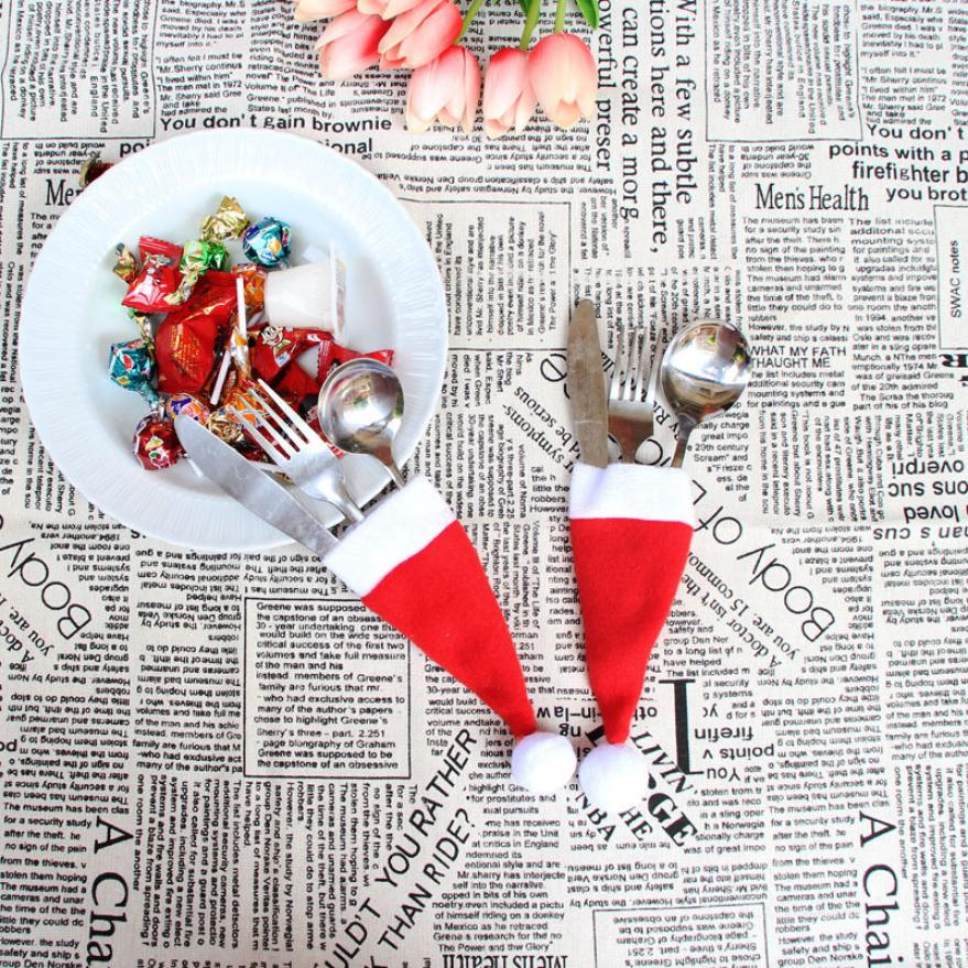 Christmas Decorative tableware Knife Fork Set Chrismas Hat Storage Tool Hot New Beautiful drop Shipping Oct12