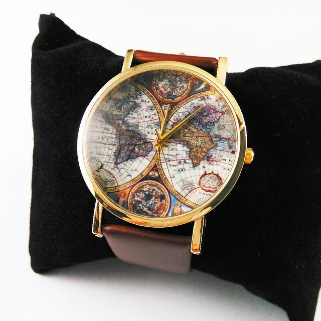 new earth world map watch 1pcslot faux pu leather strap mens womens quartz watches