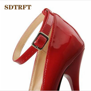 Image 2 - SDTRFT US9 14 15 16 17 18 Spring Gold Bottoms Patent Leather shoes Red Ankle Strap Pointed Toe Wedding pumps Crossdresser Mujer