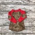 Nueva llegada raglans niñas bebés boutique Camiseta linda Primavera desgaste de los niños ropa de algodón de seda de la leche superior red Leopard Patchwork ruffles