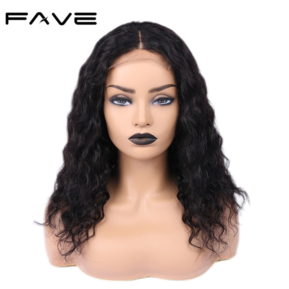 Glueless Lace Front Human Hair Wigs 4*4 Lace Closure Water Wave Wig Pre Plucked Brazilian Remy Wigs For Black Women FAVE Hair