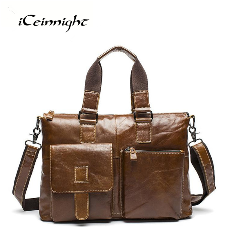 ФОТО iCeinnight Genuine Leather Men Bags Laptop Briefcase Business Vintage Casual High Quality Nature Cowhide Man Messenger Hand Bags