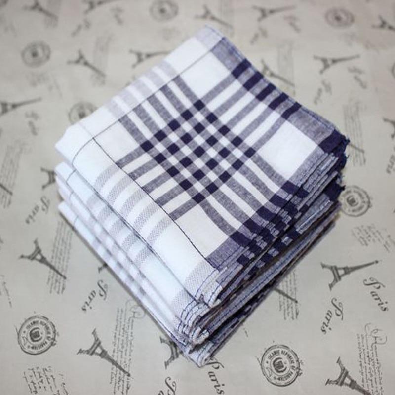 Plaid Pocket Towel Mens Handkerchief Cotton 100% Pocket Towel Man Handkerchiefs 5Pcs/Lot 40CM