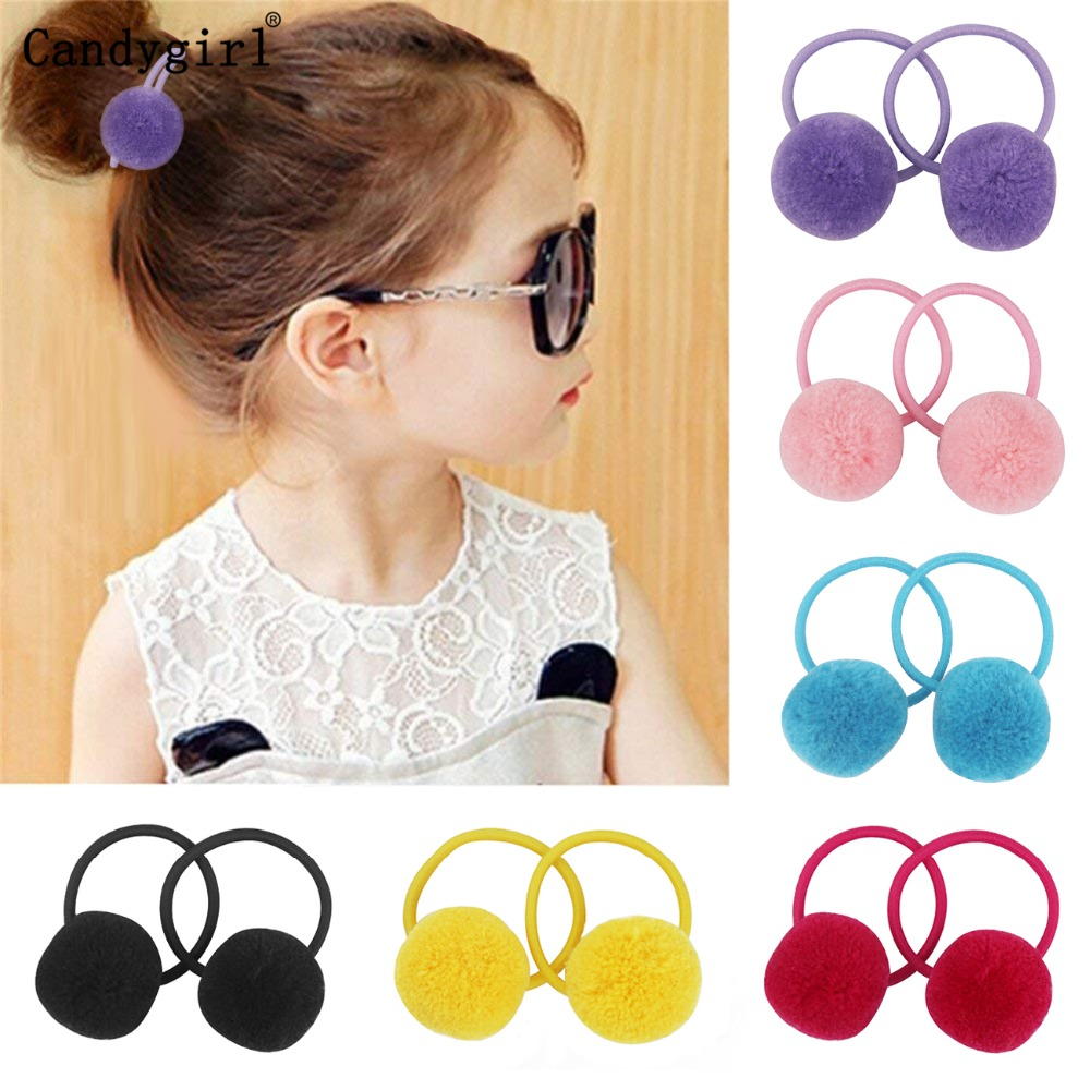 24pcs  Fur Ball Elastic Girl Womens Ponytail Holders Plush Ball Hair Ring Elastic Hair Rope Hair Tie Accessories Rubber HairBand