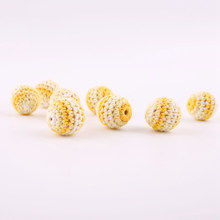 5 PC 20mm Cotton Thread Wooden Crochet Beads DIY Baby Crib Toy Nursing Jewelry Montessori Toys Teething Crochet Wood Bead(China)