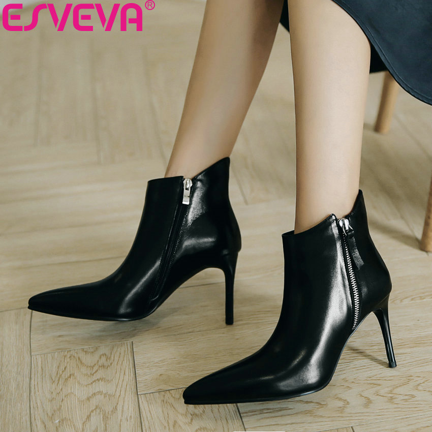 цены ESVEVA 2019 Women Shoes Zipper Real Leather PU Ankle Boots Thin High Heels Winter Shoes Woman Pointed Toe Chelsea Boots 34-43